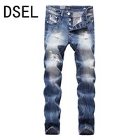 британские джинсы оптовых-Wholesale- British Style Designer Men Jeans High Quality Fashion Ripped Jeans For Men Distressed Pants Brand Jeans Men Blue Color