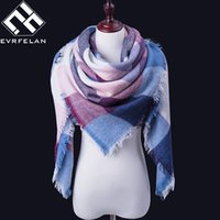 Wholesale Square Lace Scarves - Wholesale- New Fashion Women Scarf For Winter Scarf Blankets Soft Comfortable Brand Plaid Shawl Cashmere Scarves Warm Square Scarves