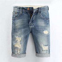 Fashion Men Jeans 2017 Summer Casual Men Jeans Shorts Hole Longueur au genou Ripped Jean For Men Brand Pantalons Shorts 28-36