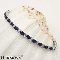 Wholesale 925 blue sapphire bracelet - 925 Sterling Silver Links Bracelet Women Jewelry Natural Blue Sapphire Cherry Ruby Green Emerald White Topaz Gemstone Charming Prom Gifts