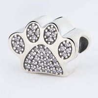 Wholesale Paw Print Bracelets - Authentic 925 Sterling Silver Dog Paw Print Silver Charm With Clear Cubic Zirconia Fit Original Bracelets Diy Jewelry Making