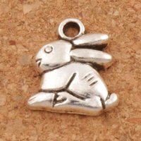 Wholesale Bunny Plates - Bunny Rabbit Easter Charms Pendants 100pcs lot Antique Silver 13.2x14.3mm Jewelry DIY L498 2017 Fashion Jewelry