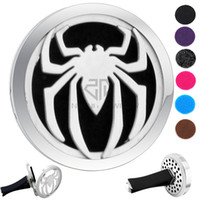 action man car achat en gros de-Hot Sale Silver Spider-man (38mm) Diffuseur d'aimants Aérothermie de voiture Locket Free Pads Essential Oil 316 Stainless Steel Car Diffuser Lockets
