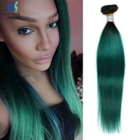 Two Tone T 1B Dark Green Ombre Remy Ensembles de cheveux humains 12 14 16 18 pouces Purple Red Blue Colored Brazilian Straight Hair
