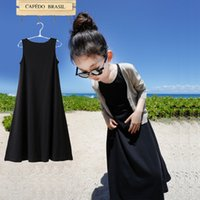 Wholesale Sheath Dress Kids - Baby Kids Clothing 2017 vintage Flower girls dresses children Casual Solid Cotton Ball gowns Bohemian Brief party dress sundress Long skirt