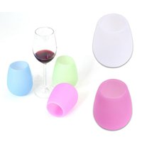 Wholesale Dishwasher Art - Silicone Wine Glasses Unbreakable Premium Food Grade Stemless Drinking Cups Dishwasher Cafe Recyclable Rubber Wine Glasses