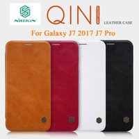 Wholesale Original Nillkin Case - For Samsung Galaxy J7 Pro Case Original NILLKIN Qin PU Flip Leather Case Cover For Samsung J7 2017 J7Pro Phone Bags Cases