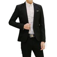 Wholesale Notch Collar Slim Fit Suits - Wholesale- 2017 New Fashion Men Suit Jacket Long Sleeves Notched Lapel Slim-Fit White-Collar Office Formal Black Suit Jacket Plus Size 3XL