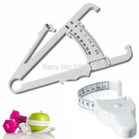 Wholesale Fat Tape - Wholesale- 2pc Fitness Weight Loss Muscle Body Fat Caliper Body Mass Measuring Tape Tester