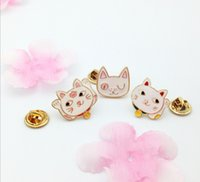 Wholesale Cute Collared Shirts For Girls - Wholesale- Creative Cute Lucky Cat Collar Pin Badge Corsage Cartoon Brooch Jewelery For shirt Dress Fashion Lovely Women Girls Accessories