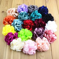 Wholesale Diy Lace Brooch - Bow headbands for girls hair 8CM flower Baby girl headband headdress flower brooch grilled side DIY 27 color mix order kids accessories
