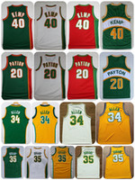 Wholesale Shirts Gloves - Throwback Seattle SuperSonics Basketball Jerseys 20 The Glove Gary Payton 40 Reign Man Shawn Kemp Shirts 34 Ray Allen 35 Kevin Durant Jersey