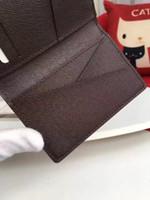 Wholesale Damier Ebene - Brand New Quality Pocket Organiser damier graphite mens Real leather wallets card holder designer Ebene Canvas purse id wallet bifold