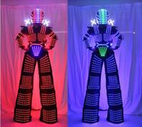 disfraz de iluminar al por mayor-Traje de robot LED David Guetta Traje de robot LED iluminado Robot Kryoman Zancos Ropa Disfraces luminosos
