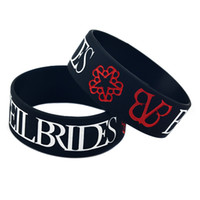 Wholesale black veil brides for sale - Group buy 50PCS Black Trendy One Inch Wide Black Veil Brides Rock Band Silicone Bracelet For Music Fans Gift