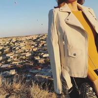 Wholesale Beige Women Short Coats - 2017 Hot Sale Women New Faux Leather Jacket Ladies Black Beige Biker Short Motorcycle Coats with Belt Zipper S-XL