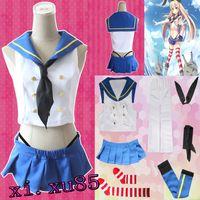 Wholesale Japanese Hot Girls Uniform - HOT Japanese Anime Collection Kantai Shimakaze Destroyer Cosplay Costume Full Suit Cute Adult Girls Uniform COS