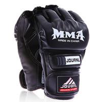 Wholesale fighting training gear online - Kickboxing Half Finger Gloves UFC MMA PU Fighting Glove Martial Arts Free Combat Boxing Semi Gloves Kung Fu Beginner Muay Thai Training Mitt