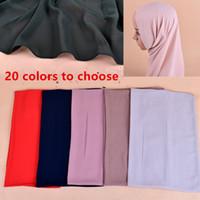 bufanda de perlas musulmanes al por mayor-20 colores de alta calidad de la perla de la burbuja de la gasa musulmán Hijab 180 cm * 70 cm bufanda chal de la cabeza abrigo Foulard diseño liso para mujeres ropa casual