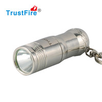 Wholesale T6 Stainless Led - Best Gift Keychain Mini Handy Portable LED Flashlight 16340 Rechargeable stainless steel Key Holder Housing Emergency LED Flash Light Torch