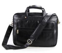 Wholesale Laptop Md - Wholesale- Genuine Leather Men Bag Vintage Men's Briefcase Shoulder Bussiness Laptop Bag Men Messenger Mags men's travel bags #MD-J7146