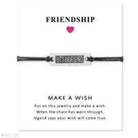 Wholesale Friends Day Cards - (10 pcs lot) Best Friend Charm Bracelets & Bangles for Women Girls Adjustable Friendship Statement Jewelry with Card