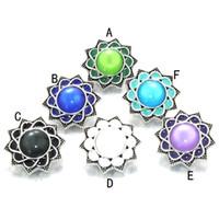 reloj pulsera de plata vintage al por mayor-Noosa de plata de la vendimia opal piedra botón a presión diy botón de 18 mm pulseras del encanto reloj flor redonda botón a presión joyería para la pulsera de bohemia