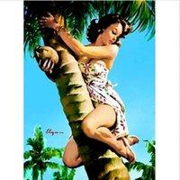 palmiers de toile d'huile achat en gros de-Encadrée Pin-up de Gil Elvgren Peinture à l'huile, Portrait, Peinture à l'huile, Palmier tropical, Haute qualité, Mur de toile, Art, Plusieurs dimensions