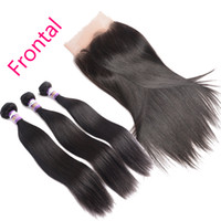 Wholesale shipping hair virgin for sale - Group buy 13x4 Silky Straight Pre Plucked Lace Frontal Closure With Baby Hair Indian Remy Virgin Human Hair Lace Frontal With Bundles