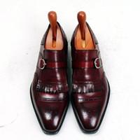 Wholesale Monk Strap Shoes Men - Men Dress shoes Oxford shoes Monk shoes Custom Handmade shoes Square toe with single strap Genuine calf leather Color burgundy HD-N176