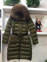 Wholesale Female Ski Jackets - MW07 Luxury Brand women coat Belt Winter Long Jackets White Duck Down Coats Female Clothes Outdoor Ski Outerwear