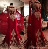 Wholesale India Long - Luxurious Lace Red Arabic Dubai India Evening Dresses Sweetheart Beaded Mermaid Chiffon Prom Dresses With A Cloak Formal Party Gowns