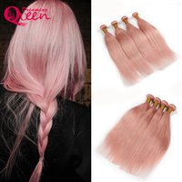 Dreaming Queen Hair Solid Pink Ombre Brazilian Straight Virgin Cabelo humano Weave Bundles Peachy R Hair Extensions 3 Bundles Frete grátis