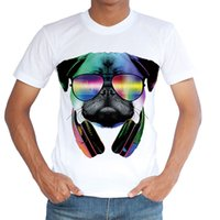 Wholesale 3xl Dog Clothing - Fashion T Shirts Music DJ Dog Printed Mens Funny Tops Hip Hop Tees Summer Style Clothes Casual Clothing High Quality 2017 HOT