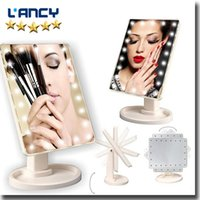 Wholesale 16 Led Screen - 360 Degree Rotary Makeup Mirror 16 22 LED Lighting Makeup Mirror Portable with Touch Screen -3 Colors