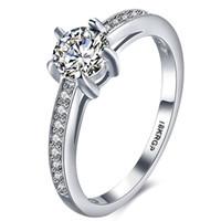 бриллиантовое кольцо оптовых-18krgp изысканный полный Белый CZ Алмаз Белый позолоченный сверкающих женщин девушка свадьба палец кольца ювелирные изделия оптовая цена