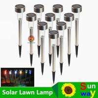Wholesale portable spotlight online - Waterproof Outdoor Solar Power Lawn Lamps LED Spot Light Garden Path Walkway Stainles Steel Stake Spotlight luminaria