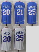 Wholesale Shirts Mens Stitching - Mens 2017-2018 New Season #20 Markelle Fultz jersey #21 Joel Embiid #25 Ben Simmons Basketball jerseys 100% Stitched Icon Blue Shirts