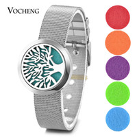 Aceite Esencial Difusor Locket Pulsera Aromaterapia 316L Acero Inoxidable Watch Band Tree 30mm Magnético sin Felt Pads VA-299