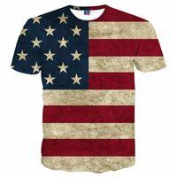 Wholesale Summer Tops Usa - 3D T shirts USA Flag T-shirt Men Women Sexy 3d Tshirt Print Striped American Flag Men T Shirt Summer Tops Tees Plus 3XL 4XL