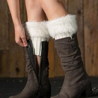 Womens Winter Warm Fur Boot Cuffs Toppers De malha de crochê Warmers Meias Curtas