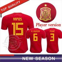 ventas de uniformes de futbol al por mayor-Versión del jugador España home red Soccer Jersey 2018 copa del mundo España home soccer shirt MORATA ISCO ASENSIO Football uniforms sales