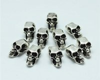 Wholesale Halloween Skeleton Heads - Free shipping 100pcs lot Evil Skull Heads Skeleton Zinc Alloy Big Hole Charm Beads Fit European Chain Bracelet paracord accessories
