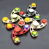 Wholesale Yellow Diamonds Wholesale - Metal Crystal Diamond Triangle Hand Fidget Spinner jewelly Finger hand spinner Rainbow Colorful Decompression Anxiety EDC Gyro Toys