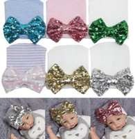 Wholesale Hospital Fashion - Sequins Baby Hats Newborn Hats Infant Toddler Baby Stripe Sequin Bowknot Hospital Hat Winter Warm Baby Beanies Fashion Infants Beanies D764