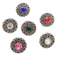 12 mm kristal anahtarı düğmesi toptan satış-B1002 Ucuz 12mm Mini Noosa Kristal Topakları Bakır Zencefil Snap Düğmesi Bilezik DIY Yepyeni Takı