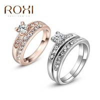 Anello di marca ROXI per le donne Platinum Rose Gold placcato Shinning Zircon Crystal Donne Wedding Wedding Bridal Dito Ring Ring