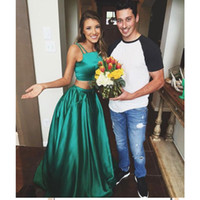 Wholesale Dress Bal Gown - Green Satin Two Pieces Prom Dresses 2017 A-line Long Party Dresses Evening Gowns robe de bal longue