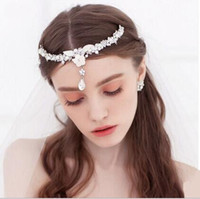 Wholesale Plant Photography - Exquisite Bling Bride Jewelry Rhinestones Pearl White Bride Headpieces Wedding Photography Bohemain Style 2017 In Stock Wholesale