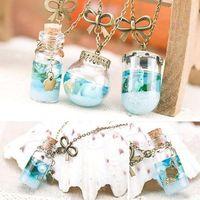Wholesale vial jewelry - Pendant Necklaces Woman Jewelry Elegant Ladies Chain Statement Bib necklet Sea Ocean Glass Bottle Pendant Mermaid Tears Shells Star Vial